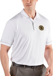 Antigua Boston Bruins Mens White Salute Short Sleeve Polo