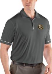 Antigua Boston Bruins Mens Grey Salute Short Sleeve Polo