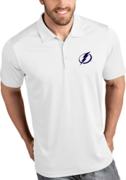 Antigua Tampa Bay Lightning Mens White Tribute Short Sleeve Polo