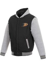 Anaheim Ducks Mens Black Reversible Hooded Heavyweight Jacket