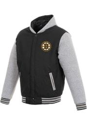 Boston Bruins Mens Black Reversible Hooded Heavyweight Jacket