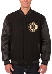 Boston Bruins Mens Black Reversible Wool Leather Heavyweight Jacket
