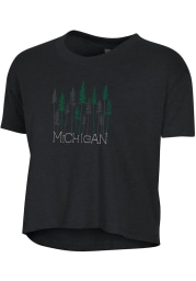 Alternative Apparel Michigan Women's Wordmark Trees Cropped Short Sleeve T-Shirt - Black