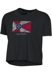 Alternative Apparel Wichita Women's Black City Flag Cropped Short Sleeve T-Shirt