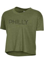 Alternative Apparel Philadelphia Women's Vintage Pine Disconnected Cropped Short Sleeve T-Shirt