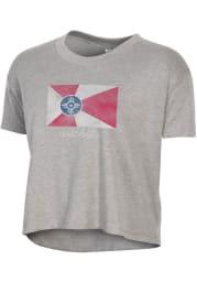 Alternative Apparel Wichita Women's Smoke Grey Flag Cropped Short Sleeve T-Shirt