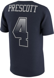 Dak Prescott Dallas Cowboys Navy Blue Name and Number Short Sleeve Player T Shirt