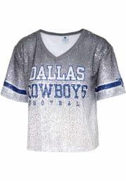 Dallas Cowboys Womens Cadence Sequin Crop Fashion Football Jersey - Grey