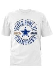 Dallas Cowboys White SB VI 72 Short Sleeve T Shirt