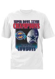 Dallas Cowboys White SB XVII 94 Short Sleeve T Shirt