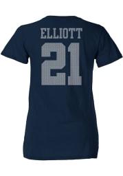 Ezekiel Elliott Dallas Cowboys Womens Navy Blue Ashlee Player T-Shirt
