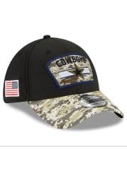 New Era Dallas Cowboys Mens Black 2021 Salute to Service 39THIRTY Flex Hat