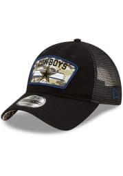 New Era Dallas Cowboys 2021 Salute to Service Trucker 9TWENTY Adjustable Hat - Black