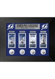 Tampa Bay Lightning 2021 Stanley Cup Champions Silver Coin and Ticket Plaque
