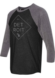 Detroit Black Diamond Triblend Raglan 3/4 Sleeve T Shirt