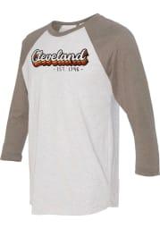 Cleveland White Stacked Script Raglan ¾ Sleeve T Shirt