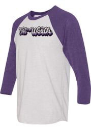 Fort Worth White 70s Stacked Script Raglan ¾ Sleeve T Shirt