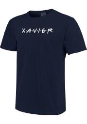 Xavier Musketeers Womens Navy Blue Wordmark Dots Short Sleeve T-Shirt