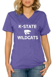 K-State Wildcats Womens Purple Simple V-Neck T-Shirt