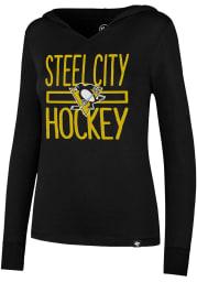47 Pittsburgh Penguins Womens Black Crosstown Hooded Sweatshirt