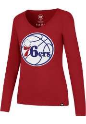 47 Philadelphia 76ers Womens Red Splitter Long Sleeve T-Shirt