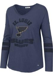 47 St Louis Blues Womens Blue Letter Courtside 2 LS Tee