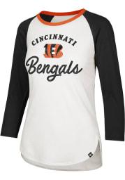 47 Cincinnati Bengals Womens White Spirit Script Splitter Raglan LS Tee
