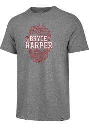 Bryce Harper Philadelphia Phillies Grey Bryce Face Short Sleeve Fashion Player T Shirt