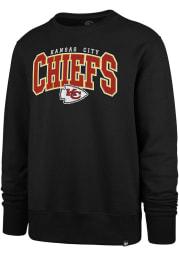 47 Kansas City Chiefs Mens Black Headline Crew Long Sleeve Crew Sweatshirt