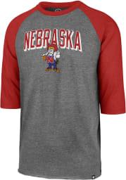 47 Nebraska Cornhuskers Red Break Thru Club Raglan Long Sleeve Fashion T Shirt