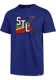 47 St Louis Blues Blue Retro Striped State Short Sleeve T Shirt