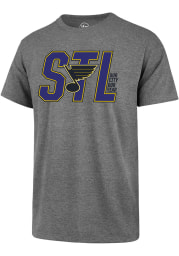 47 St Louis Blues Grey STL Block Short Sleeve T Shirt