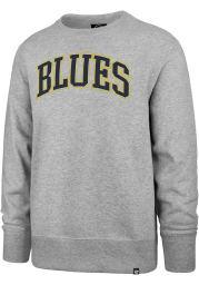47 St Louis Blues Mens Grey Arch Outline Headline Long Sleeve Crew Sweatshirt