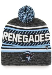 47 Dallas Renegades Black XFL 2020 Sideline Ice Cap Cuff Pom Mens Knit Hat