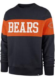 47 Chicago Bears Mens Navy Blue Interstate Crew Long Sleeve Fashion Sweatshirt