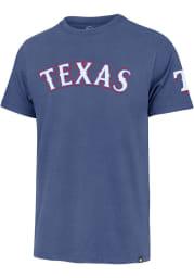 47 Texas Rangers Light Blue Wordmark Fieldhouse Short Sleeve Fashion T Shirt