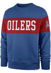 47 Houston Oilers Mens Blue Interstate Long Sleeve Fashion Sweatshirt