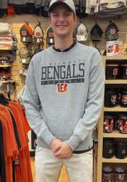 47 Cincinnati Bengals Mens Grey Sideline Block Headline Long Sleeve Crew Sweatshirt