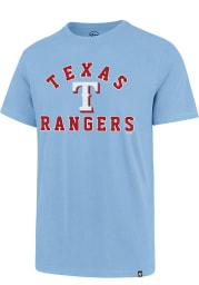 47 Texas Rangers Light Blue Varsity Arch Rival Short Sleeve T Shirt