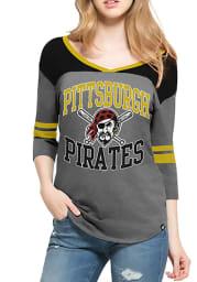 47 Pittsburgh Pirates Womens Charcoal Replay Rush Long Sleeve T-Shirt