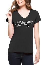 47 Chicago White Sox Womens Charcoal Splitter V-Neck T-Shirt