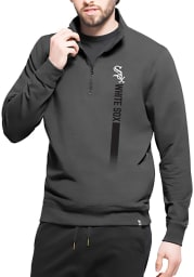 47 Chicago White Sox Mens Black On Side Long Sleeve 1/4 Zip Pullover