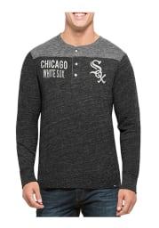 47 Chicago White Sox Black Neps Henley Long Sleeve Fashion T Shirt