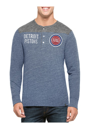 47 Detroit Pistons Black Neps Henley Long Sleeve Fashion T Shirt