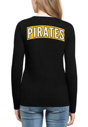 47 Pittsburgh Pirates Womens Black Clutch Backer Long Sleeve T-Shirt