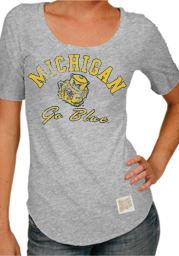 Original Retro Brand Michigan Wolverines Juniors Grey Retro Scoop T-Shirt