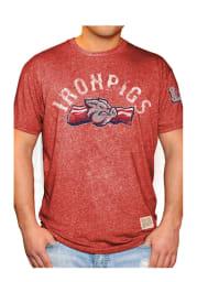 Original Retro Brand Lehigh Valley Ironpigs Red Mock Twist Short Sleeve Fashion T Shirt