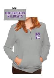 Northwestern Wildcats Womens Grey Tri-Blend Fleece 1/4 Zip Pullover