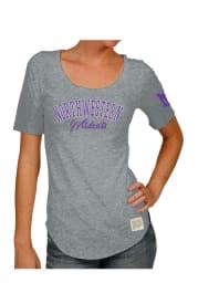 Original Retro Brand Northwestern Wildcats Womens Grey Streaky Scoop T-Shirt