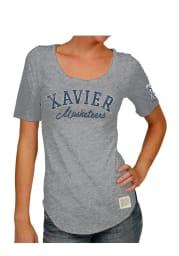 Original Retro Brand Xavier Musketeers Womens Grey Streaky Scoop T-Shirt